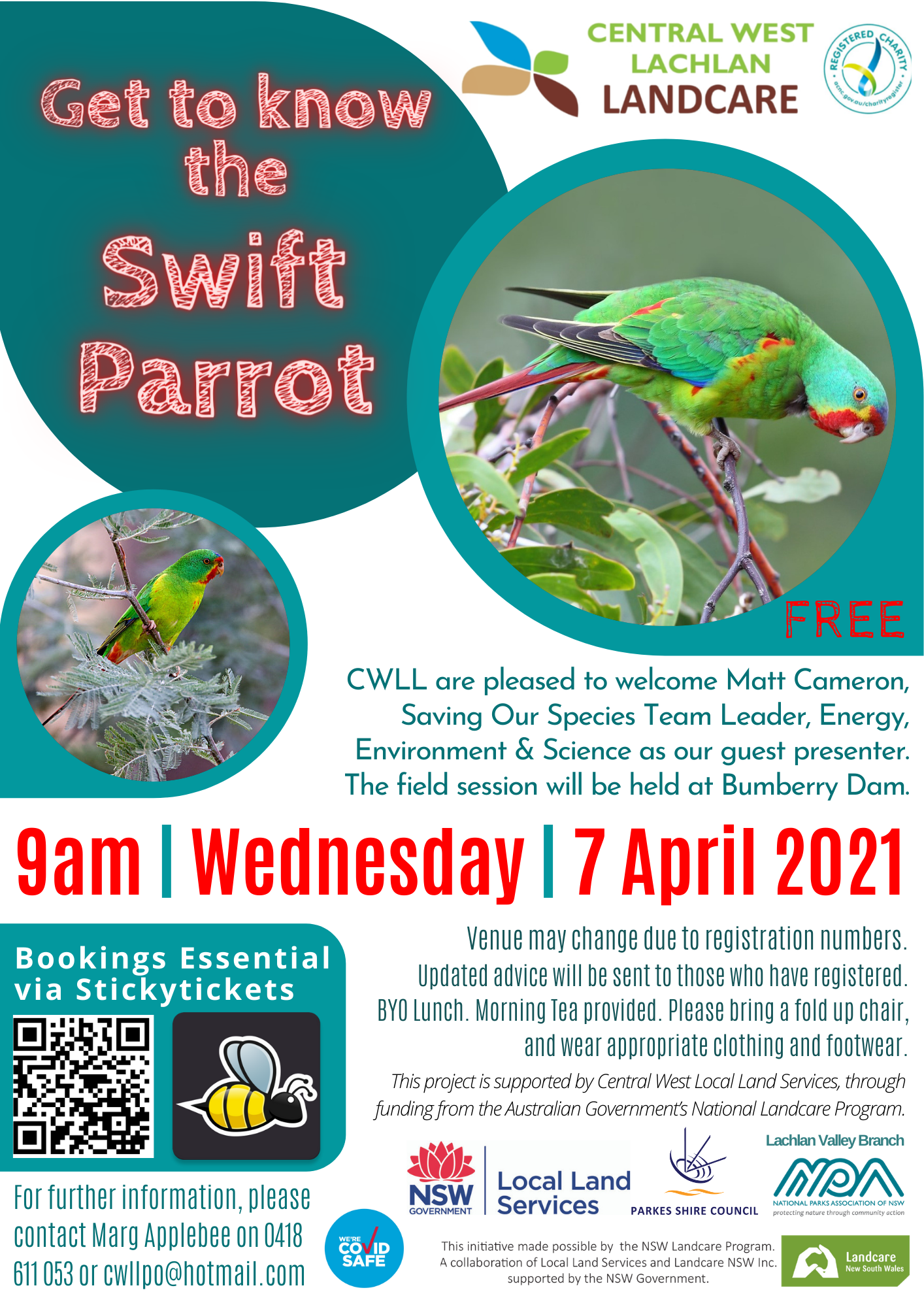 Get to Know the Swift Parrot Field Day (7-4-2021)